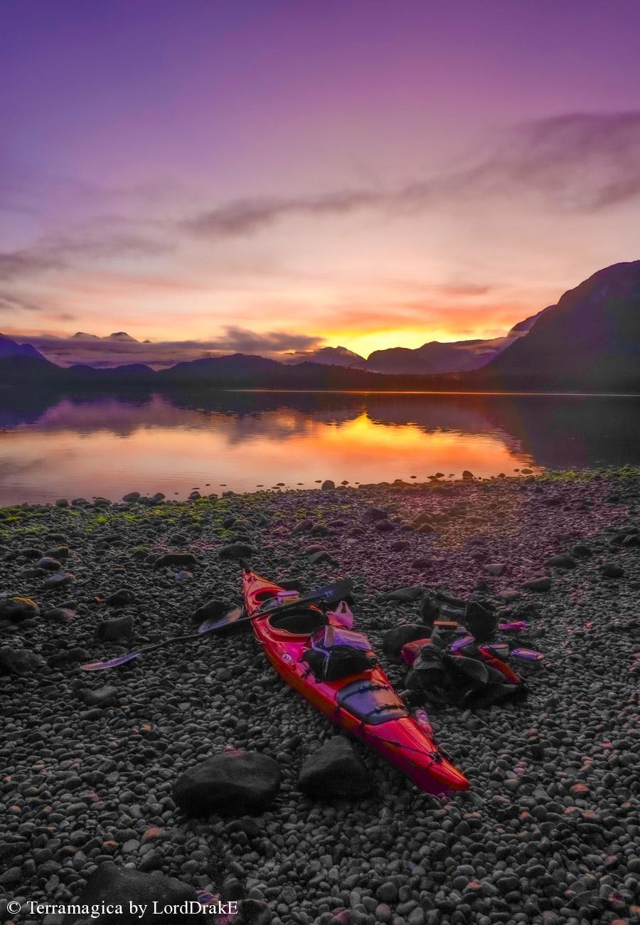 Circunnavegacion en Kayak a la Isla Magdalena puesta de sol